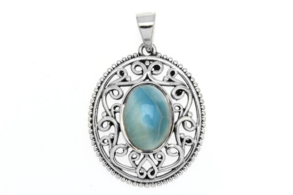 Filigree Oval Natural Stone Pendant