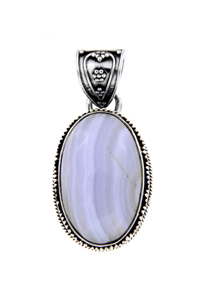Blue Lace Agate Filigree Pendant
