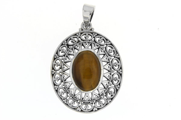 Oval Natural Stone Filigree Pendant