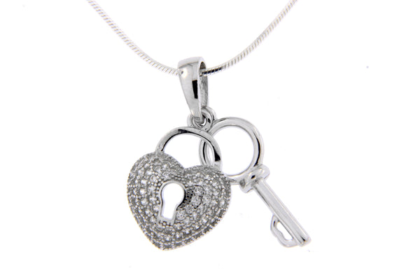 Rhodium Heart & Key CZ Pendant
