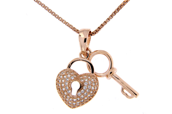 Rose Gold Heart & Key CZ Pendant