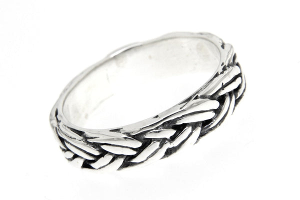 Oxidized Braided  Band Sterling Silver