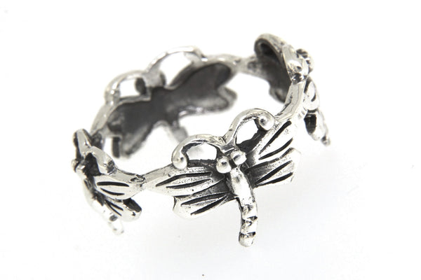 Sterling Silver Dragonfly Band Ring