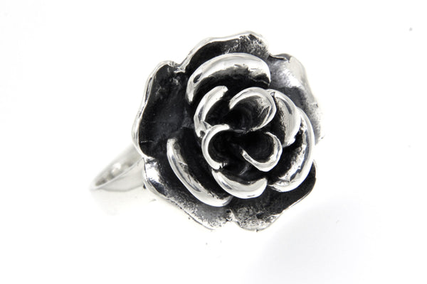 Sterling Silver Electroform Rose Blossom Ring/20 mm.