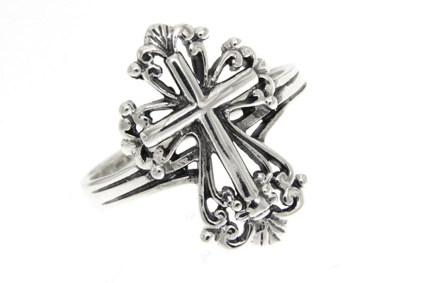 Filigree Cross Sterling Silver Ring