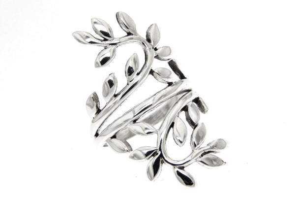 Branch With Leaves Sterling Silver Ring