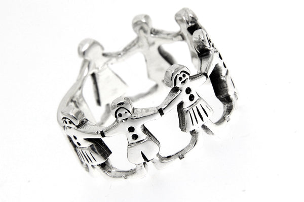 Boys And Girls Holding Hands Silver Band Ring