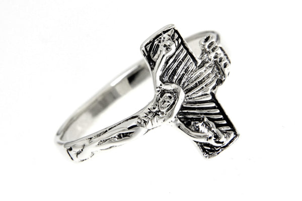 Jesus Christ Crucifix Sterling Silver Ring