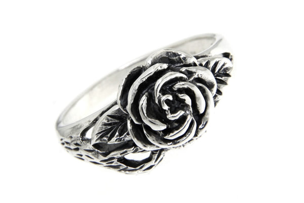 Rose Blossom Leaf Sterling Silver Ring