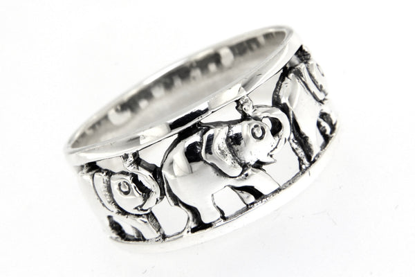 Sterling Silver Elephant  Band