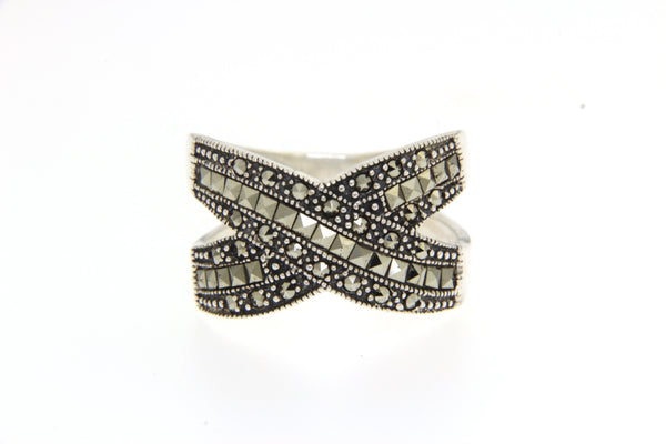 Crossover Marcasite Ring