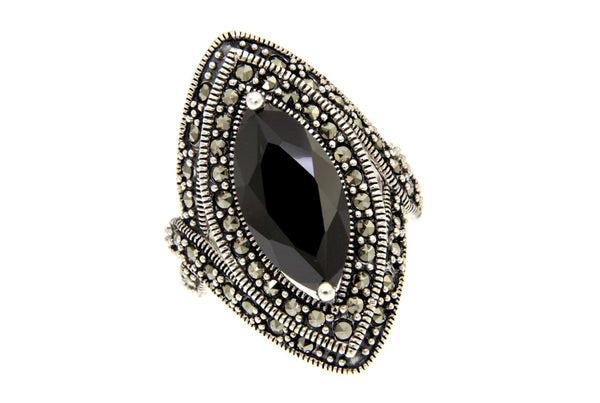 Black Cz Marquise Cut Marcasite Ring