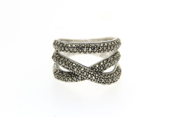 Crossover Open Cut Marcasite Ring