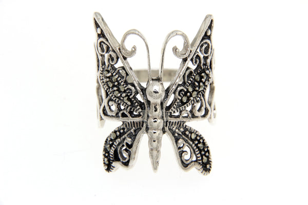 Filigree Butterfly Marcasite Ring