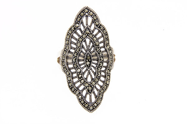 Open Cut Scalloped Marcasite Ring