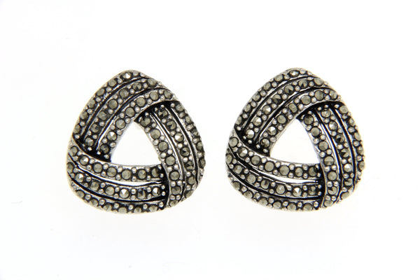Open Cut Triangle Marcasite Earrings