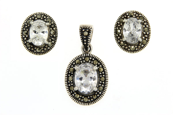 Oval Silver Marcasite CZ Earrings and Pendant Set