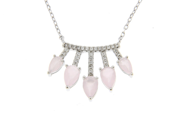 Pink CZ Inverted Teardrop Necklace