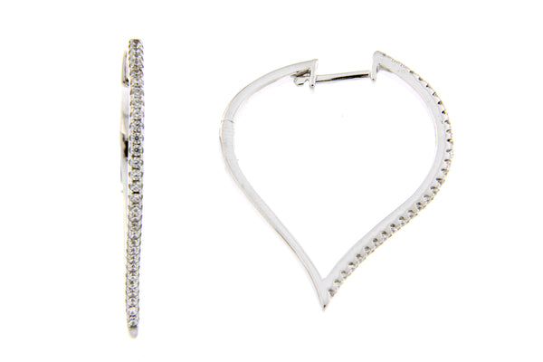 Inverted Teardrop CZ Hoop Earrings