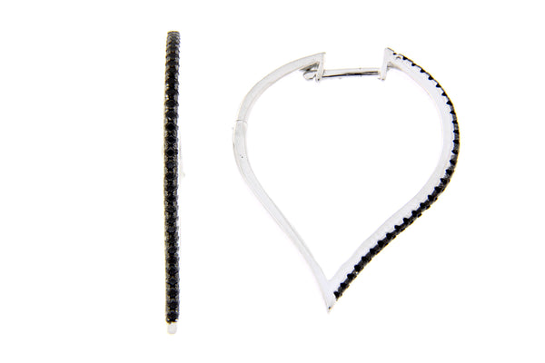 Black CZ Inverted Teardrop Hoop Earrings