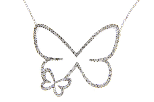 Silver Open Butterfly CZ Necklace