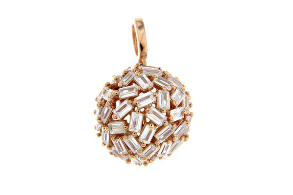 Sterling Silver Rose Gold Plated CZ Baguette Ball Pendant