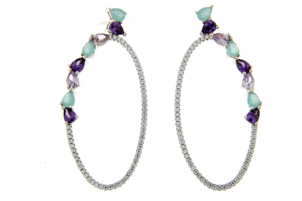 Lavender Green CZ Oval Drop Earrings