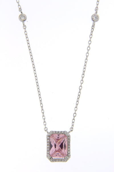 Pink CZ Halo Cut Necklace