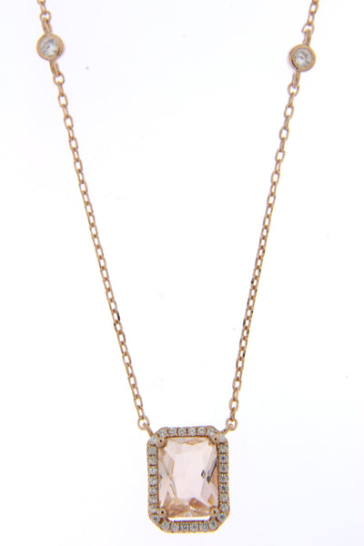 Rose Gold Morganite CZ Halo Necklace