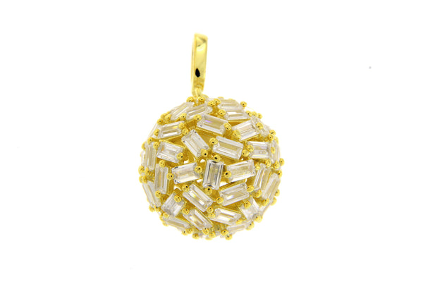 Sterling Silver Gold Plated CZ Baguette Ball Pendant