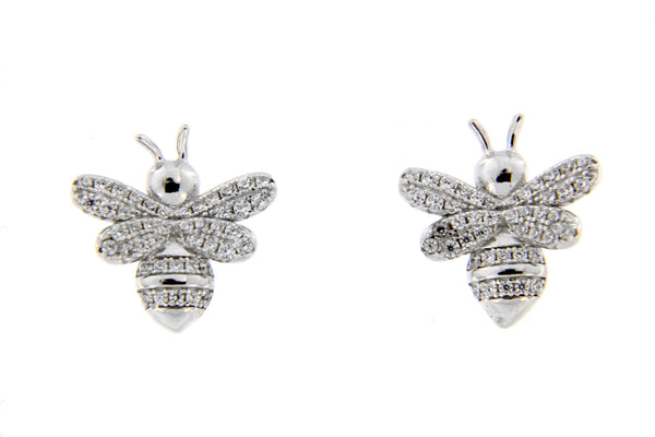 Rhodium Bumble Bee CZ Stud Earrings