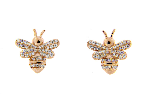 Sterling Silver Rose Gold Plated Bumble Bee CZ Stud Earrings