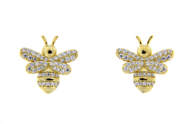 Sterling Silver Gold Plated Bumble Bee CZ Stud Earrings