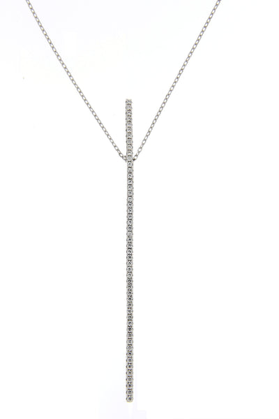 Rhodium CZ Bar Necklace