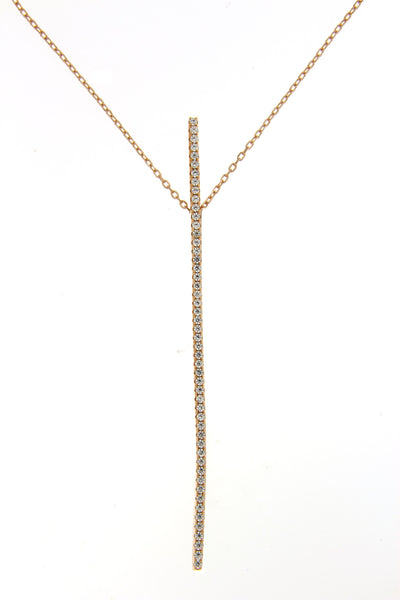 Sterling Silver Rose Gold Plated CZ Bar Necklace