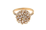 Sterling Silver Rose Gold Plated Baguette CZ Ball Ring