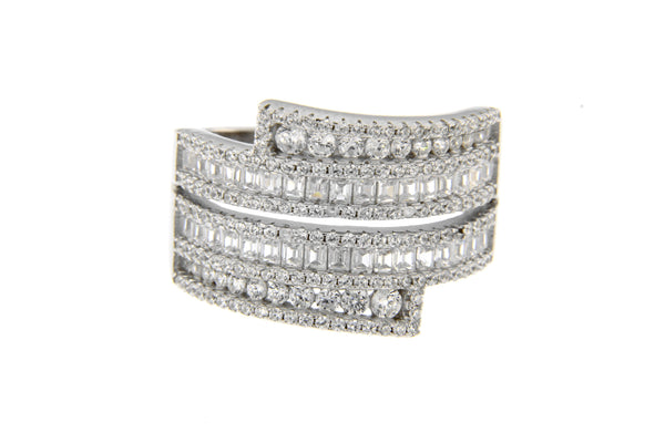 Rhodium Baguette Ring