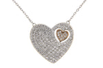 Rhodium & Rose Gold Heart CZ Necklace