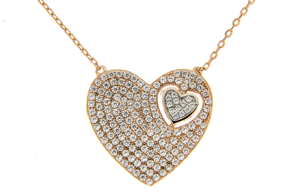 Rose Gold & Rhodium Heart CZ Necklace