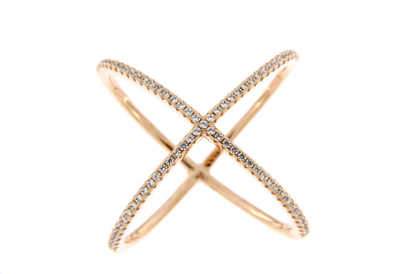 Sterling Silver Rose Gold Plated CZ Crisscross Ring