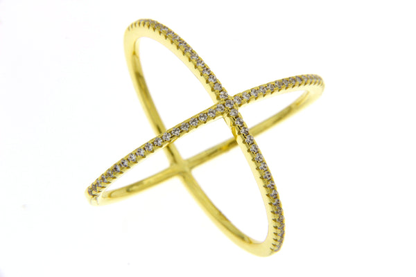 Sterling Silver Gold Plated CZ Crisscross Ring