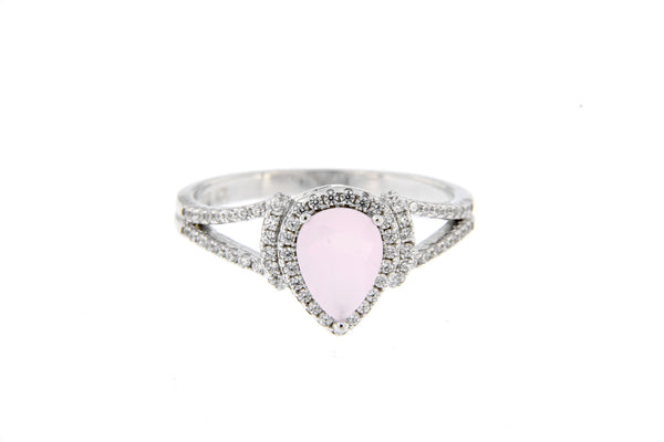 Pink Inverted Teardrop CZ Ring