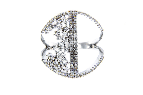 Rhodium Bar Cluster Ring