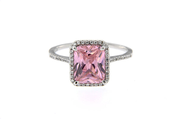 Rhodium Pink CZ Halo Ring