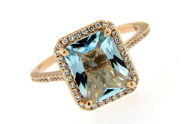 Rose Gold Sky Blue CZ Halo Ring
