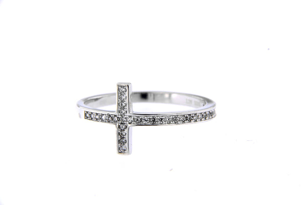 Rhodium Cross CZ Ring