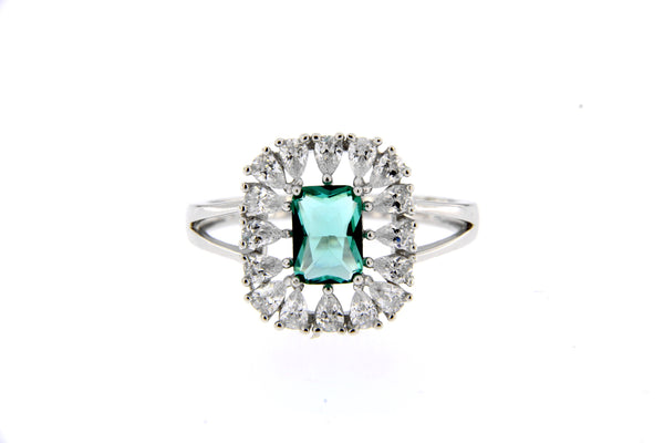 Sky Green CZ Rectangle Halo Ring