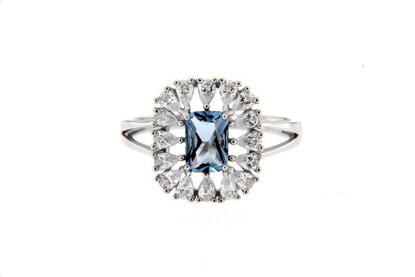 Sky Blue CZ Rectangle Halo Ring