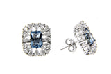 Sky Blue CZ Halo Earrings & Pendant Set