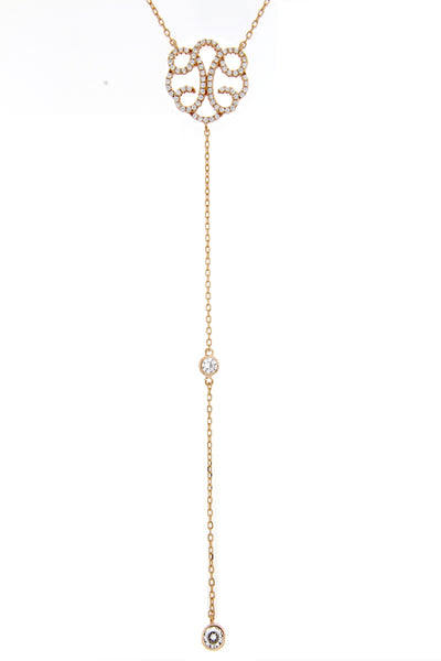 Rose Gold CZ Lariat Necklace